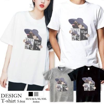 Tシャツ メンズ 半袖 ブランド ユニセックス  クルーネック プリントTシャツ おしゃれ ペア パグ Pug 犬 VAGUE ファッションPug