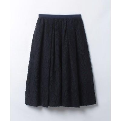 【ランバンオンブルー】 ジャカードギャザースカート レディース ネイビー 38 LANVIN en Bleu