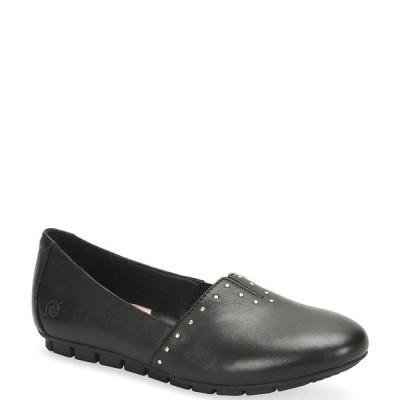 ボーン レディース サンダル シューズ Sebra Studded Black Leather Slip Ons Black