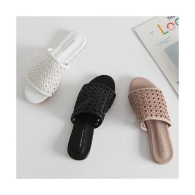 サンダル レディース フラット編み込み ぺたんこ 黒 ブラック ホワイト ベージュ 婦人靴 歩きやすい パンプス スリッパ