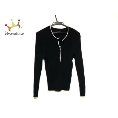 ニジュウサンク 23区 長袖セーター サイズ46 XL レディース 訳あり 黒×白  スペシャル特価 20201204