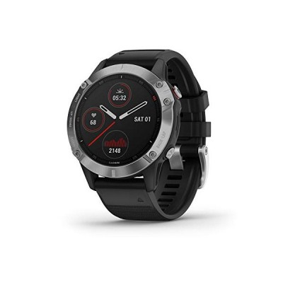 Garmin f〓nix 6, Ultimate Multisport GPS Watch, Heat and Altitude Adjusted V02 Max, Pulse Ox Sensors and Training Load Focus, Silver with Black Band