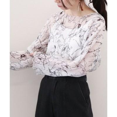 シャツ ブラウス 花柄シアー楊柳プルオーバー