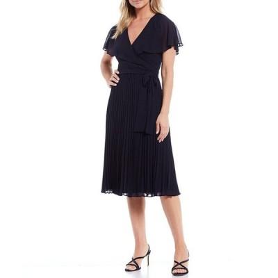 ジェシカハワード レディース ワンピース トップス Short Flutter Sleeve Pleated Faux Wrap Midi Dress