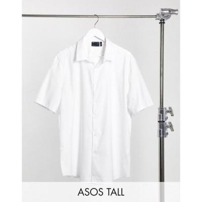 エイソス メンズ シャツ トップス ASOS DESIGN Tall slim fit textured shirt with collar bar