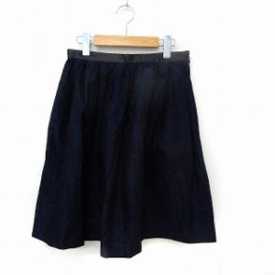 【中古】ユナイテッドアローズ UNITED ARROWS スカート ギャザー フレア 総柄 サイドジップ 38 ネイビー /ST30