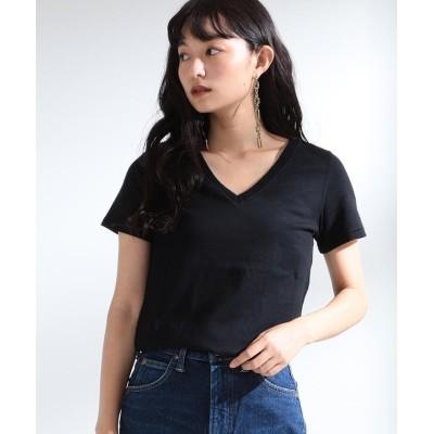 【ビームス ウィメン】 Ray BEAMS / コットン 天竺 Vネック Tシャツ レディース ブラック 1 BEAMS WOMEN