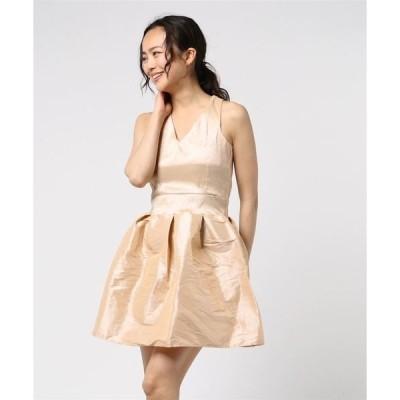 ドレス 光沢サテンパーティードレス