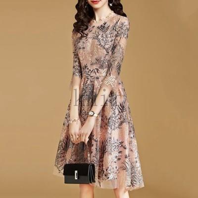 ワンピースパーティードレスレディース安い可愛い結婚式ワンピースドレス花柄Aライン上品ミディアム丈ピンク
