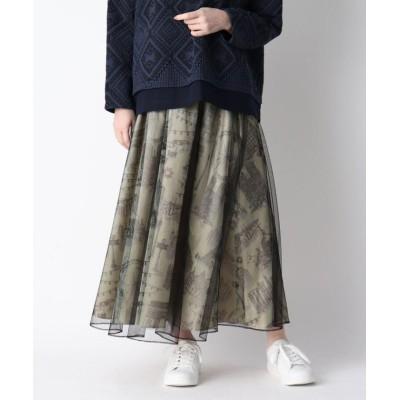 【スマートピンク】 パリモチーフプリントチュールレイヤードスカート レディース ベージュ 40(M/ミセス) smart pink