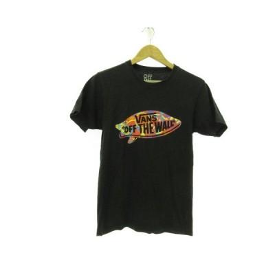 【中古】バンズ VANS カットソー Tシャツ 半袖 プリント 黒 S *E568 メンズ 【ベクトル 古着】