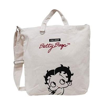 [ベティ ブープ]Betty Boop ショルダーバッグ トートバッグ 2WAY ロゴ コットン レディース アイボリー