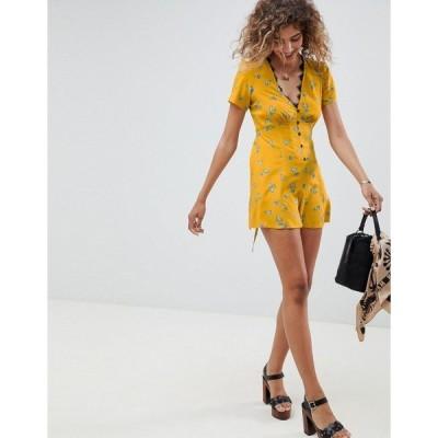 エイソス レディース ワンピース トップス ASOS DESIGN swing tea romper with button front and lace trim detail in ditsy floral print Mustard floral
