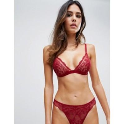 エイソス レディース ブラジャー アンダーウェア ASOS DESIGN Roxy lace triangle bra Red
