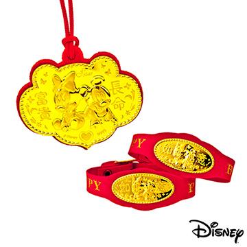 Disney迪士尼金飾 兩小無猜三件式黃金彌月禮盒-0.2錢