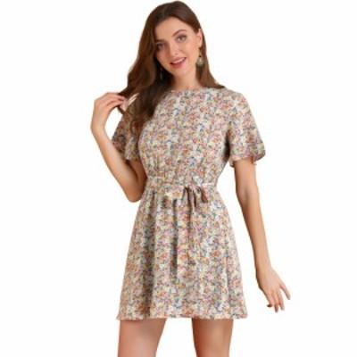 Allegra K 花柄ワンピース ドレス 半袖 伸縮性 ウエストゴム ベルト付き レディース ピンク L