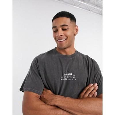 トップマン 半袖Tシャツ メンズ Topman t-shirt with Lisbon print in black エイソス ASOS sale ブラック 黒