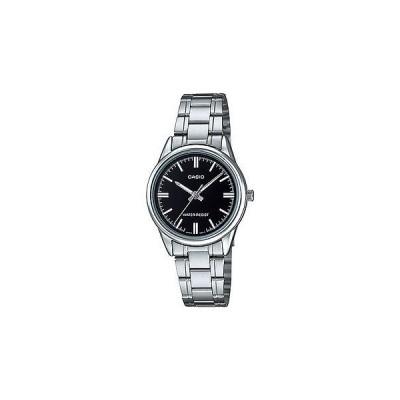 腕時計 カシオ Casio レディース シルバー ブレスレット 腕時計 ブラック ダイヤル デイト LTP-V002D-1A