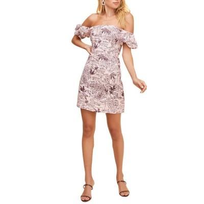 アストール ワンピース トップス レディース ASTR the Label Raina Linen-Blend Dress blossom tropical prn