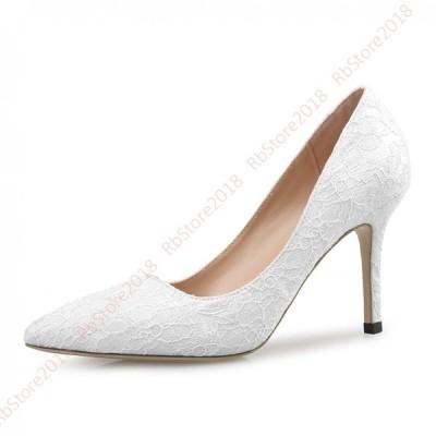 パンプス 結婚式 二次会 パーティー ポインテッドトゥ ハイヒール 痛くない パール ヒール フォーマル レディース オフィス 靴 ラインストーン お呼ばれ