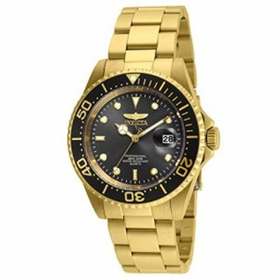 Invicta 24949 Mens Pro Diver Black Dial Yellow Gold Plated Steel Bracelet Dive Watch