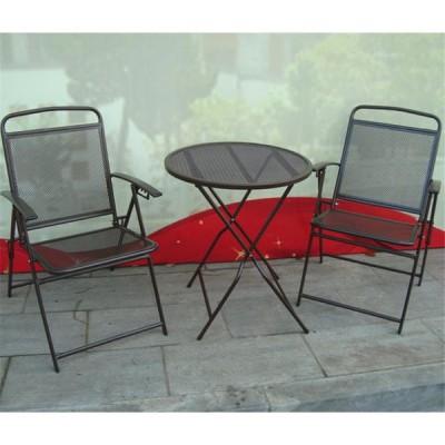 テーブル+チェア 3点セット 家具 アイアンメッシュの座席 錆防止 折りたたみ式