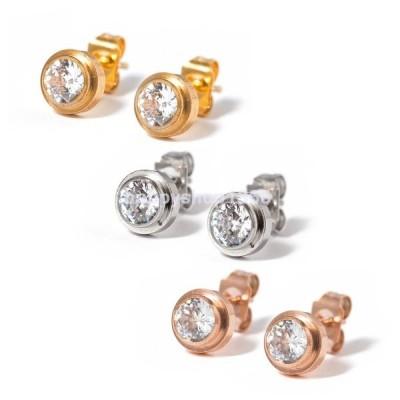 CZダイヤモンド 1ポイントチタンステンレスピアス片耳