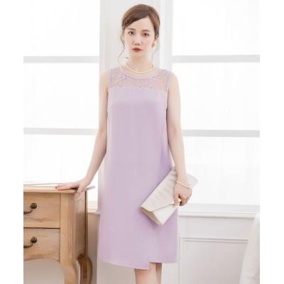 【ドレス スター】 結婚式・お呼ばれ・フォーマル対応巻きスカート風アシンメトリーなスカートデザインドレス レディース ラベンダー Mサイズ DRESS STAR