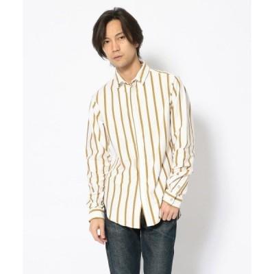 シャツ ブラウス FranCisT_MOR.K.S./フランシスト モークス/Stripe Jersey cs Wired Shirt/ストライプジャ
