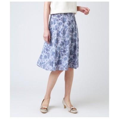 スカート 花更紗プリント Aラインスカート