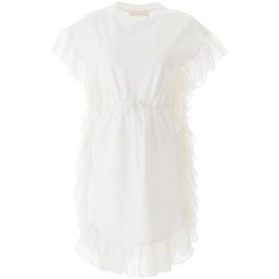 SEE BY CHLOE/シーバイクロエ White See by chloe ruffled dress レディース 春夏2020 CHS20UJR21082 ik