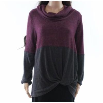 ファッション トップス SWEET CLAIRE Womens Purple Size Small S Cowl Neck Twist Hem Sweater