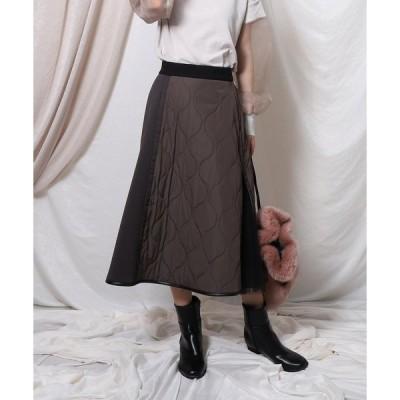 スカート アシメ切替チュールキルティングスカート