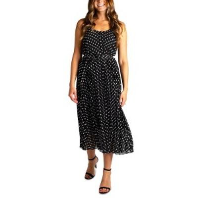 ロビービー レディース ワンピース トップス Petite Pleated Dot-Print Fit & Flare Dress Black/White