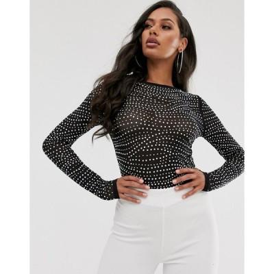 エイソス おでかけトップス レディース ASOS DESIGN long sleeve mesh top with crystal studs エイソス ASOS ブラック 黒