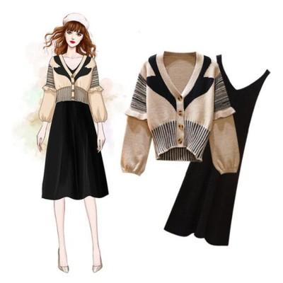 💖2019秋新入荷 高品質販売 大きいサイズ 女性 ニット セーター セット ドレス ツーピース