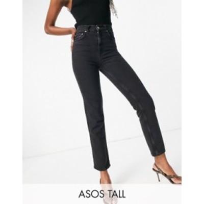 エイソス レディース デニムパンツ ボトムス ASOS DESIGN Tall high rise 'stretch' straight leg jeans in washed black Washed black