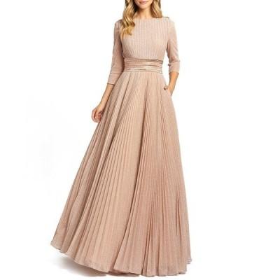 マックダガル ワンピース トップス レディース Embellished-Waist Pleated-Skirt Gown Rose Gold