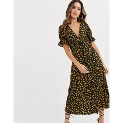 エイソス レディース ワンピース トップス ASOS DESIGN button through midi tea dress with puff sleeve in polka dot  Black mustard s