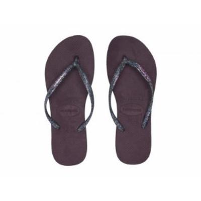 Havaianas ハワイアナス レディース 女性用 シューズ 靴 サンダル Slim Logo Metallic Flip Flops Aubergine/Silver【送料無料】