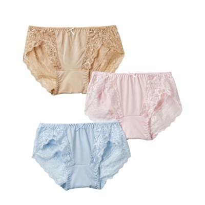 【WEB限定】マイクロ2WAYストレッチレーシーサニタリーショーツ昼用3枚組(羽付ナプキン対応)(M) サニタリー(生理用ショーツ)Panties