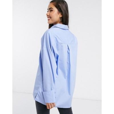 エイソス レディース シャツ トップス ASOS DESIGN oversized relaxed cotton dad shirt in blue Blues