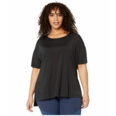 ナイキ レディース シャツ トップス Plus Size Yoga Layer Short Sleeve Top Black/Dark Smok