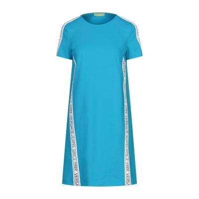 VERSACE JEANS ミニワンピース&ドレス ターコイズブルー 38 コットン 52% / ナイロン 40% / ポリウレタン 8% ミニワン