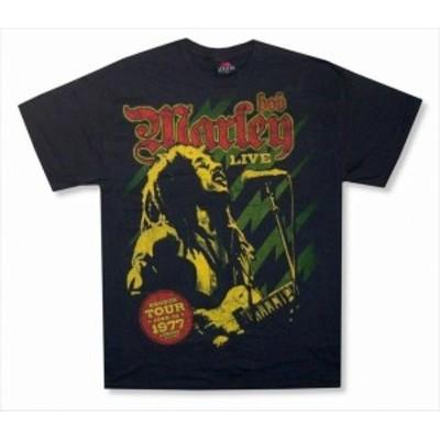 ファッション トップス Bob Marley-Live In London 1977-Black T-shirt