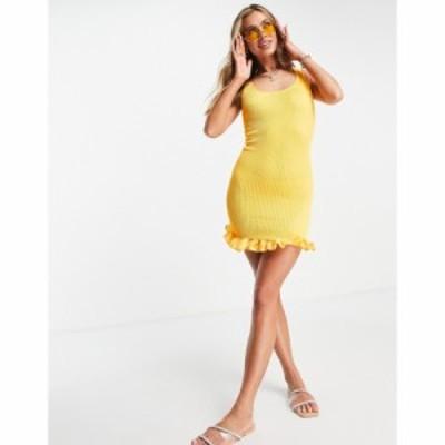 エイソス ASOS DESIGN レディース ワンピース ミニ丈 ワンピース・ドレス textured scoop neck mini dress with ruffle hem in orange オ
