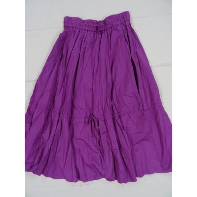 GROVE スカート ロングスカート 紫 ピンク フレアスカート ウエスト紐 レディース 古着 USED 可愛い