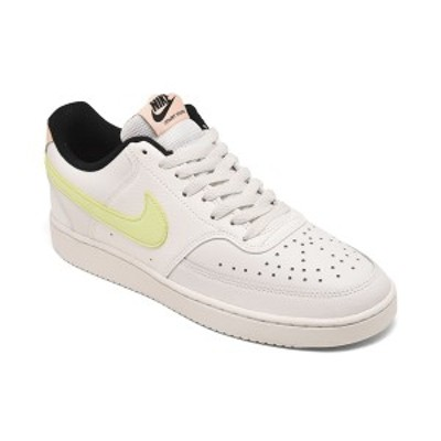 ナイキ レディース スニーカー シューズ Women's Court Vision Low Casual Sneakers from Finish Line Summit White, Barely Volt