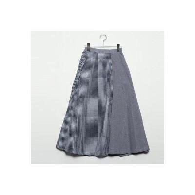 スタイルブロック STYLEBLOCK 先染めギンガムチェック切替スカート (ネイビー)