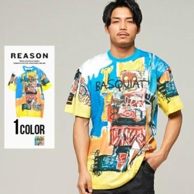 Tシャツ メンズ 半袖 トップス インナー カットソー クルーネック BASQUIAT バスキア コラボ アート マルチグラフィック 総柄 プリント